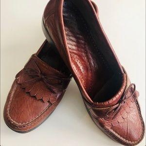 SAS Brown Leather Kiltie Slip On Loafers